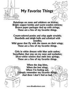 Printable Christmas Carol Lyrics sheet : My Favorite Things | My ...
