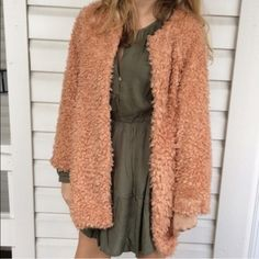 24 hr SALE Peach Fuzzy Coat Lovely peach colored coat by Moon Collection. New with tags! Super soft and light weight. NO TRADES Moon Collection Jackets & Coats