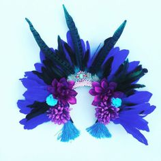 Blue Feather Rio Carnival Festival Head Dress Statement by ZEDHEAD