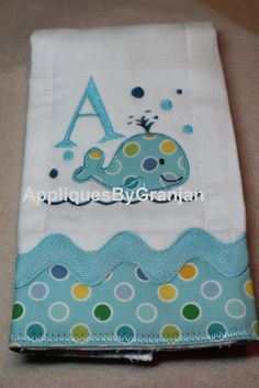 Personalized and appliqued burp cloth baby by AppliquesByGranjan