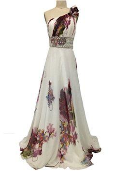 Bridal 2015 hot chic floral print evening bridal gown one shoulder us