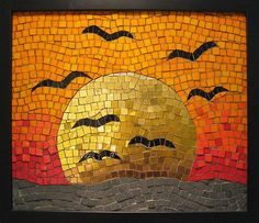 "collage board ""Setting Sun"" Venetian smalti and gold leaf glass, slate, vitreous glass on cement board with black wood frame Approx x by Kate Rattray Paper Mosaic, Mosaic Tile Art, Mosaic Artwork, Mosaic Crafts, Mosaic Projects, Stone Mosaic, Mosaic Glass, Art Projects, Mosaics"
