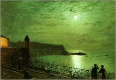 John Atkinson Grimshaw - Scarborough by Moonlight from the steps of the Grand Hotel