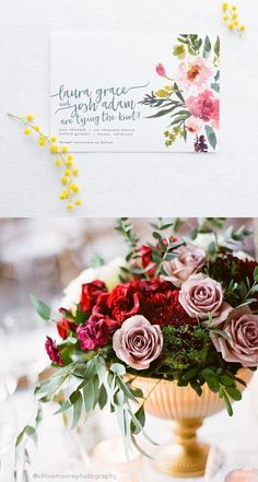 Watercolor Floral Save the Date / DIY Printable Tying the Knot Wedding Card / Save the Date card with Calligraphy and pretty watercolor flowers / save the date for garden weddings / rustic wedding save the date / designed by Splash of Silver / as seen on Brenda's Wedding Blog www.brendasweddingblog.com