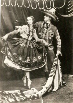 "Anna Pavlova in Mexican Folklore attire from the Mexican dance ""Jarabe Tapatio."""