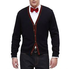 cardigan with bow tie with jeans | cardigan, jeans & red bow tie