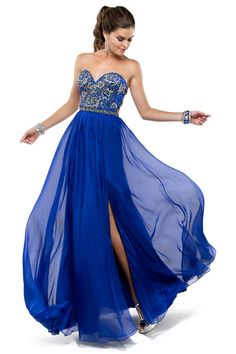Gorgeous blue dress! And a hair idea for a strapless dress besides just curled and down!