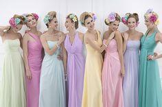 Kelsey Rose 2013 Bridesmaid Dresses - World of Bridal Disney Bridesmaids, Pastel Bridesmaid Dresses, Bridal Dresses, Wedding Gowns, Rainbow Bridesmaids, Pastel Wedding Theme, Bright Wedding Colors, Rainbow Wedding, Wedding Themes