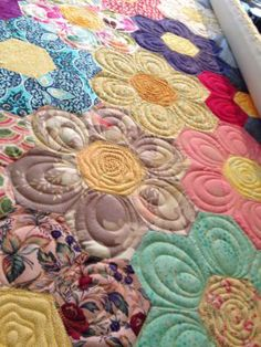 Image result for grandmother's flower garden quilt pictures
