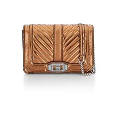 Rebecca Minkoff Small Love Crossbody ($195) ❤ liked on Polyvore featuring bags, handbags, shoulder bags, crossbody, rose gold, leather purses, leather crossbody handbags, mini crossbody purse, crossbody shoulder bags and leather crossbody