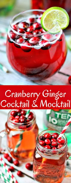 The Cranberry Ginger Cocktail or Mocktail is the perfect low calorie holiday drink! Fill up your punch bowl and get drinking!