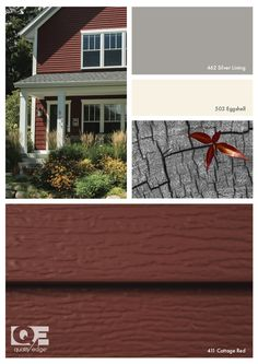 Grey Exterior, Cottage Exterior, Exterior Paint Colors, Exterior Siding, Exterior House Colors, Paint Colors For Home, Red Cottage, Cottage Style, Architecture