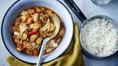 Chicken and butter bean casserole with basmati rice |      Whip up a hearty dish of chicken and beans to keep the whole family happy. Do tweak the recipe to suit your veg stocks.This meal, if served as six portions, provides 503kcal, 46g protein, 59g carbohydrate (of which 14.5g sugars), 7g fat (of which 2g saturates), 9g fibre and 1.6g salt per portion.