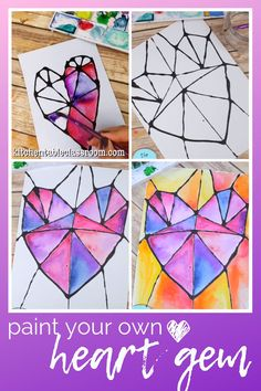 Paint Your Own Heart Gem : This geometric heart painting is inspired by stained glass. Watercolor paints and black glue make this multimedia project bright and … Art Education Lessons, Art Lessons, Valentine's Day Crafts For Kids, Art For Kids, Kids Watercolor, Heart Art, Heart Kids, Camping Crafts, Process Art