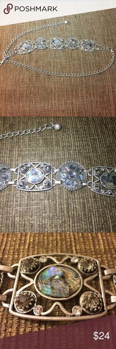 Chico's Chain Belt Beautiful matte silver adjustable belt with inlaid sparkle - perfect with a tunic or dress!!  Stone is abalone - reflects different colors - really spectacular!! Chico's Accessories Belts