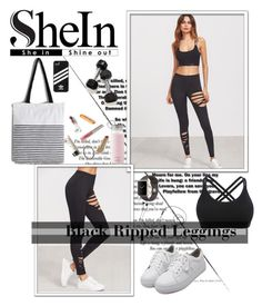 """Black Ripped Leggings SHEIN"" by miss-maca ❤ liked on Polyvore featuring WithChic, Kate Spade, adidas, Marshall, fashionset, polyvorecontest and shein"
