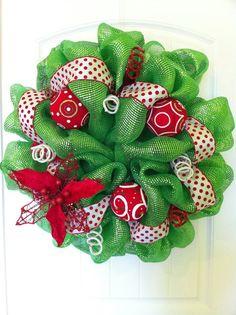 Christmas Poinsettia Deco Poly Mesh Wreath via Etsy.