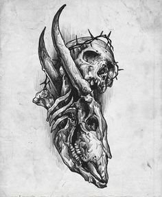 Dark Art Drawings, Tattoo Design Drawings, Tattoo Sketches, Art Sketches, Dark Art Tattoo, Tattoo Flash Art, Tatoo Art, Spooky Tattoos, Skull Tattoos
