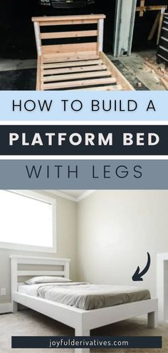 Start sleeping in style when you build this simple platform bed with legs! It's built with 2x4s and uses basic tools, making it a quick and easy project. It's budget-friendly and is especially great for a kid's room makeover. Small Wood Projects, Cool Woodworking Projects, Cool Diy Projects, Build A Platform Bed, Rustic Wood Decor, Table Setting Inspiration, Furniture Restoration, Repurposed Furniture, Decorating Tips