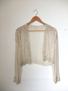 Sheer silk beaded bolero (sold) :( - like this but cap sleeves Beaded Jacket, Sequin Jacket, Shrug Cardigan, Bolero Jacket, Vintage Dresses, Vintage Outfits, White Wedding Dresses, Beautiful Outfits, Bridal Gowns