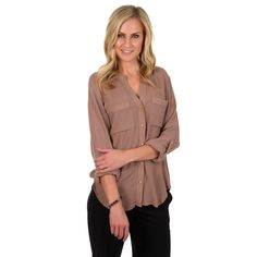 Timeless Comfort by Journee Women's Pocketed Button-up Blouse