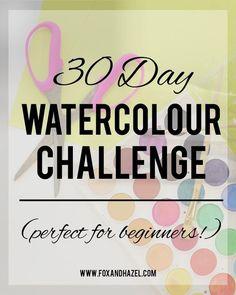 Fox + Hazel: Ta Da! The 30 Day Watercolour Challenge! Watercolour Challenge, Watercolor Beginner, Watercolor Tips, Watercolor Painting Techniques, Watercolor Projects, Watercolour Tutorials, Watercolor Drawing, Drawing Challenge, Painting Lessons