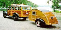 """STRANGE OLDE """"WOODIE"""" WAGONS - 1947 DODGE BUS WAGON WITH WOODIE TEARDROP CAMPER"""