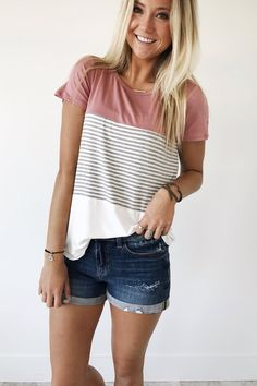 Color Block Tee   Scoop Neck  White, Mauve + Striped  Short Sleeve  Loose Fit