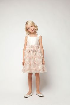 186131cbd35 Girls Dress Style 476- Satin and Rose Vine Mesh Dress