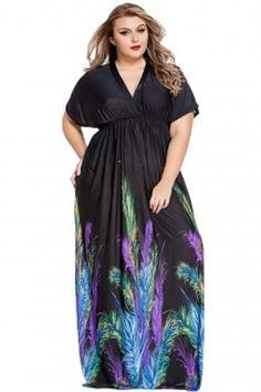 12fee0e0df5db Plus Size Elegant Printed Black Loose Fitting Maxi Dress 2X-3X #Unbranded  #Maxi