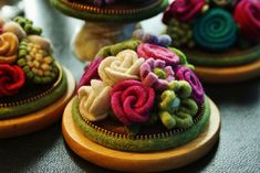 Wool flower pincushion