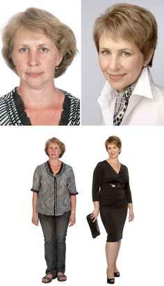 Submission to 'Before-after-makeup-woman-style-change-konstantin-bogomolov' Look Thinner, How To Look Skinnier, Before After Hair, Beauty Makeover, Over 60 Fashion, Personal Image, Advanced Style, Look Younger, Fashion Tips For Women