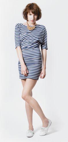 Blau-Weiß gestreiftes Kleid // blue white dress by IchJane via DaWanda.com