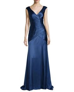 Sleeveless Tiered Satin Gown, Indigo by Kay Unger New York at Neiman Marcus.