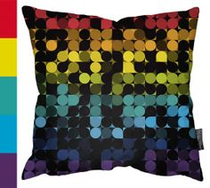 Geometric Cushion Designs     At first glance, the design covering this pillow seemed to have sequins on it, but on second glance, this is illusion created by bold color choices and the juxtapositions.