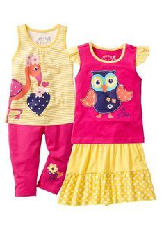 Top + T-shirt + jupe + legging 3/4 (Ens. 4 pces.), bpc bonprix collection, jaune tulipe/fuchsia