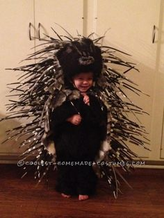 Cutest thing ever. Brilliant design, using foam slivers, by her parents. Homemade Prickly Porcupine Costume for a Girl ... This website is the Pinterest of costumes