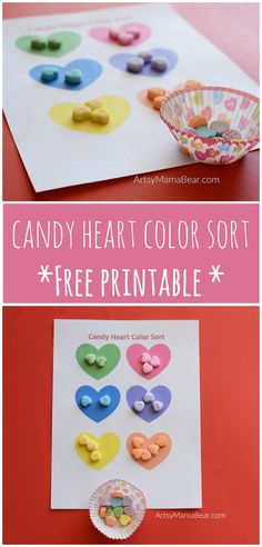 Candy Heart Color Sort - Free Printable