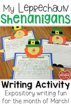 Perfect for St. Patrick's day! How fun is this writing craft! Students write about what shenanigans they'd get into if they were a leprechaun.