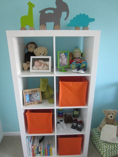 Colors for boys room - aqua, orange and the perfect green