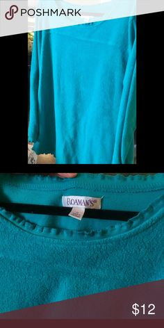 Sweatshirt Has the appearance of a sweatshirt turned inside out. Beautiful shade of blue little scalloped edging around collar sleeves and bottom of top   Medium weight.  Excellent condition. Only wore once Roamans Tops Sweatshirts & Hoodies