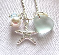 Seafoam Seaglass Starfish Necklace by GardenLeafSeaside on Etsy, $24.00