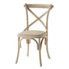 Chaise en rotin et bouleau