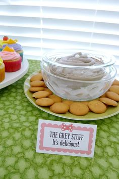 The Grey Stuff (from Beauty and the Beast) for a Disney World themed birthday party. (Printable customizable labels are on etsy: https://www.etsy.com/listing/233132311/pink-or-red-polka-dot-bow-minnie-mouse)