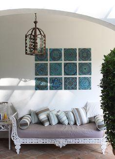 Decorative Wall Art Tiles Circle Garden Decor With Mandala Design Outdoor Wall Art Glazed