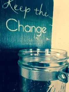 Keep the change laundry room decor sign with jar by TinasTinkers, $18.99