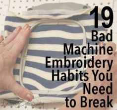 19 Bad Machine Embroidery Habits You Need to Break - Great advice for every embroiderer! embroidery 19 Bad Machine Embroidery Habits You Need to Break Brother Embroidery Machine, Machine Embroidery Projects, Machine Embroidery Applique, Embroidery Stitches, Hand Embroidery, Embroidery Ideas, Embroidery Machines, Embroidery Jewelry, Embroidery Digitizing