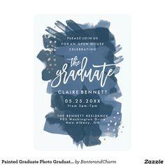 Painted Graduate Photo Graduation Invitation