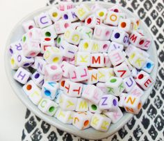 100x 6mm Candy Coloured Alphabet Cube Resin beads by CuteCornwall, £2.00