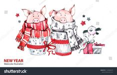 2019 Happy New Year illustration. Cute pigs in scarves with gifts and bird. Symbol of winter holidays. Perfect for celebration cards. Christmas Border, Christmas Past, Holiday Outfits For Teens, New Year Illustration, Diy Stockings, Holidays With Kids, Winter Holidays, New Year's Crafts, Holiday Signs